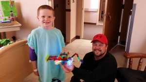 Daddy entertained Asher with legos in his hospital room 4.17.15.