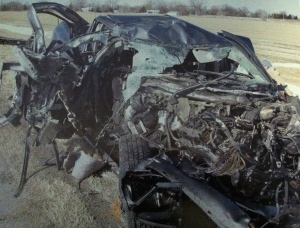 Jeremy's truck after the accident in 2012.