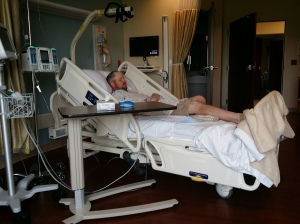 Jeremy resting after heart cath surgery.